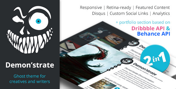 Demon'strate — Responsive Ghost Portfolio Theme - Ghost Themes Blogging