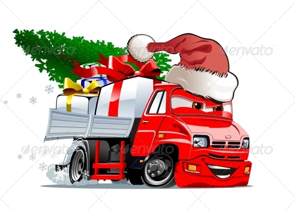 GraphicRiver Cartoon Christmas Truck 6073924