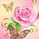 Greeting Postcard with Rose and Butterflies  - GraphicRiver Item for Sale