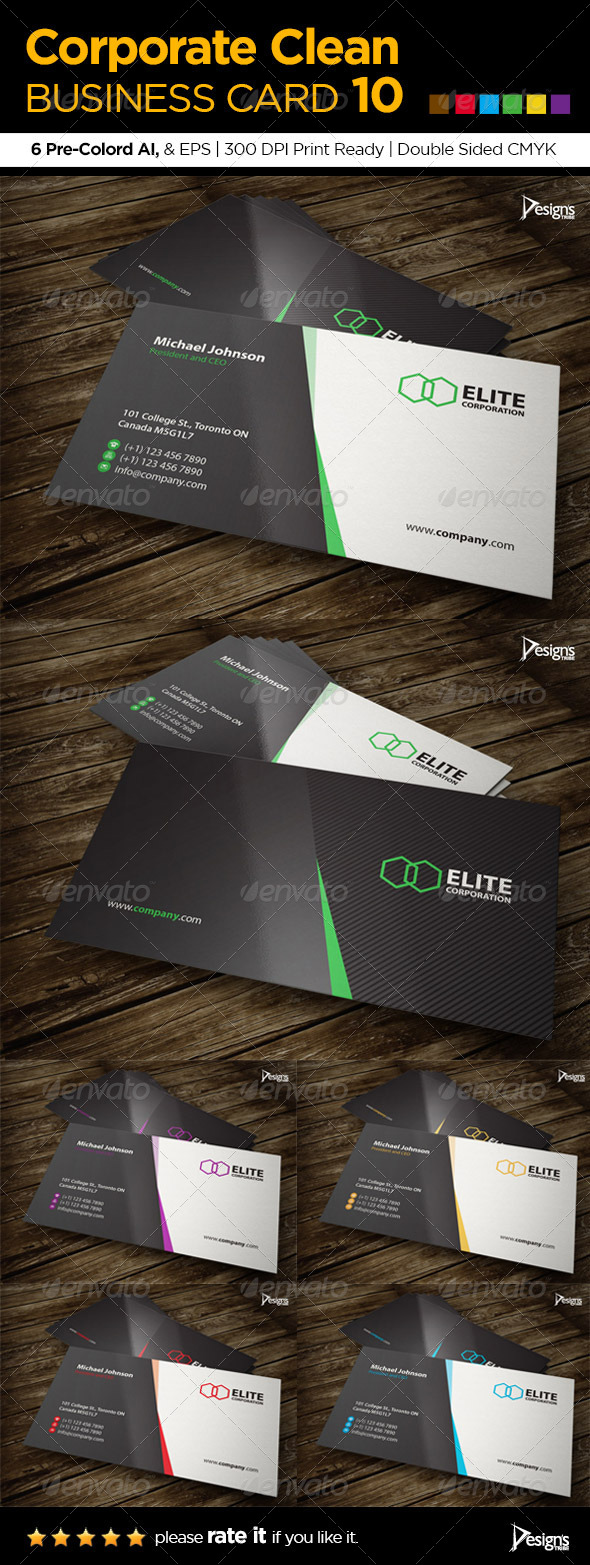 GraphicRiver Corporate Clean Business Card 10 6074972