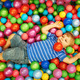 Happy child playing with colorful plastic balls - PhotoDune Item for Sale