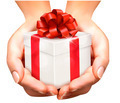 Holiday background with hands holding gift boxes. - PhotoDune Item for Sale