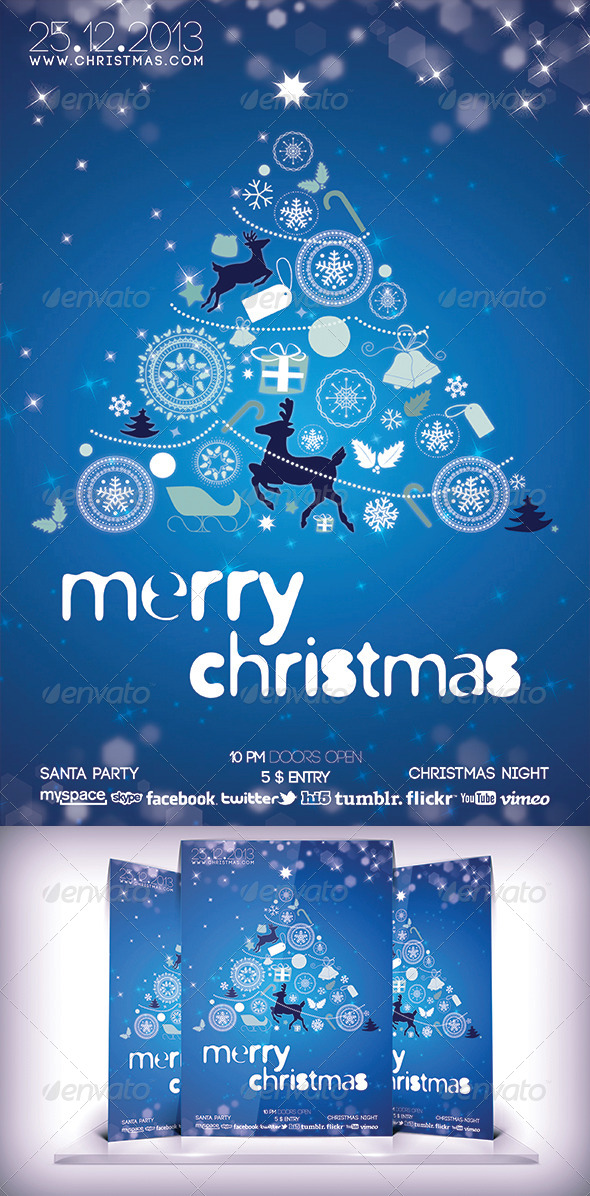 GraphicRiver Christmas Party Blue Flyer 6078423