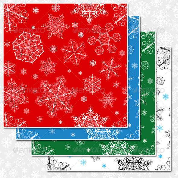 GraphicRiver Christmas Seamless Patterns of Snowflakes 6078606