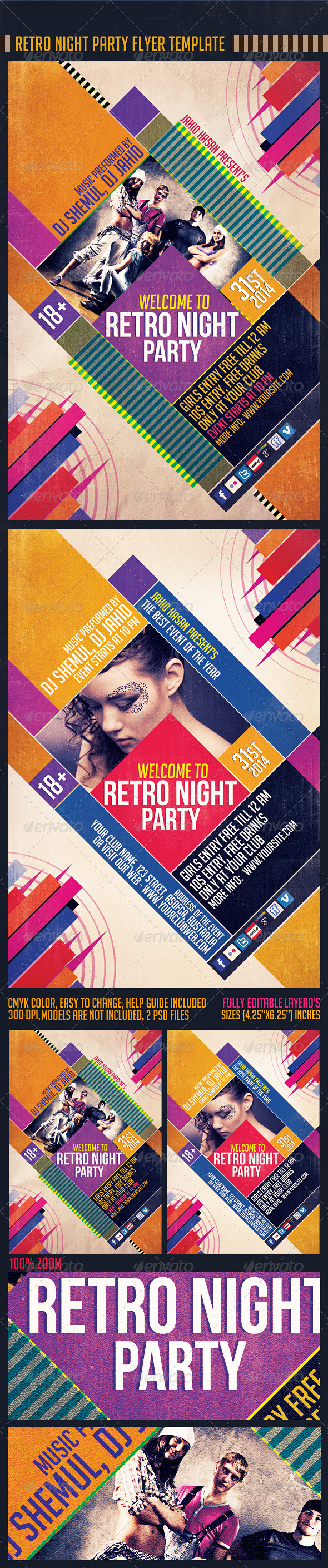Retro Night party Flyer Template - Clubs & Parties Events