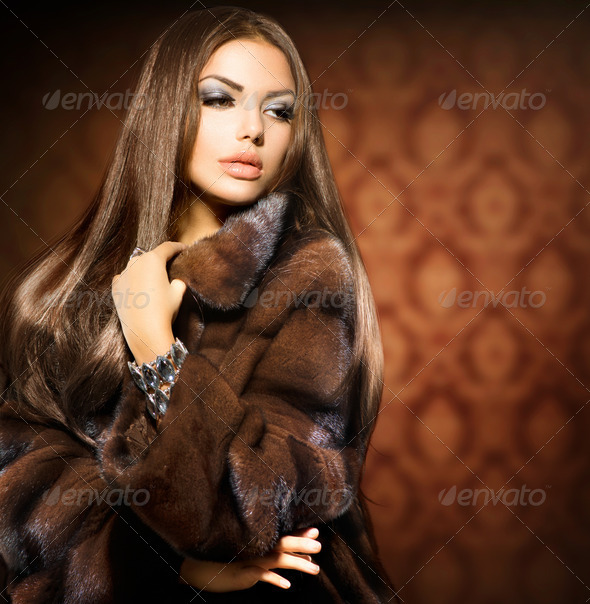 Beauty Fashion Model Girl in Mink Fur Coat - Stock Photo - Images