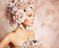 Fashion Beauty Model Girl with Flowers Hair. Bride - PhotoDune Item for Sale