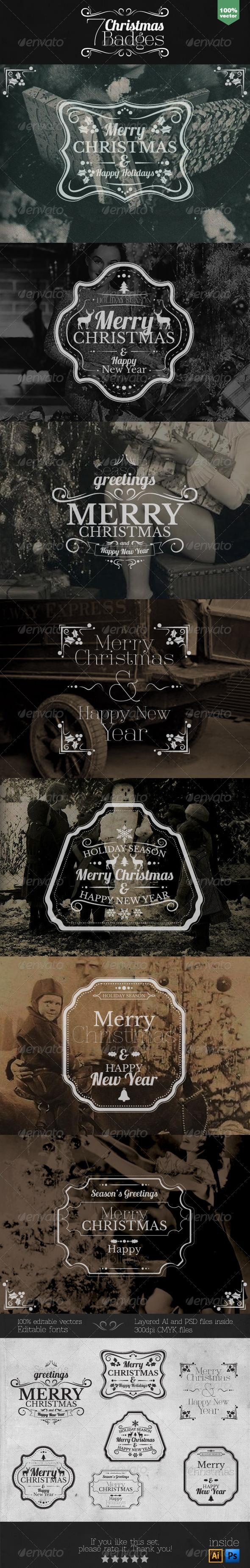 GraphicRiver Christmas Badges Set 6079213
