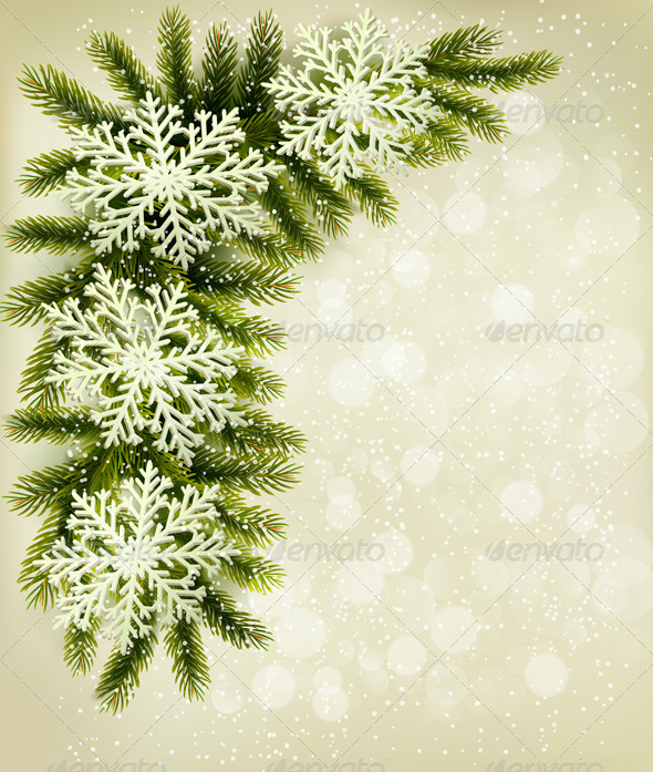 GraphicRiver Christmas Retro Background with Tree Branches 6079768