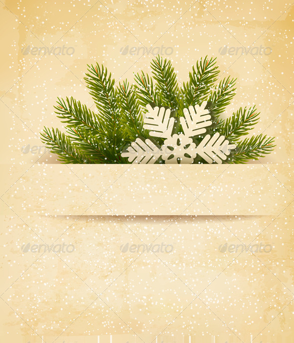 GraphicRiver Christmas Retro Background with Tree Branches 6080063