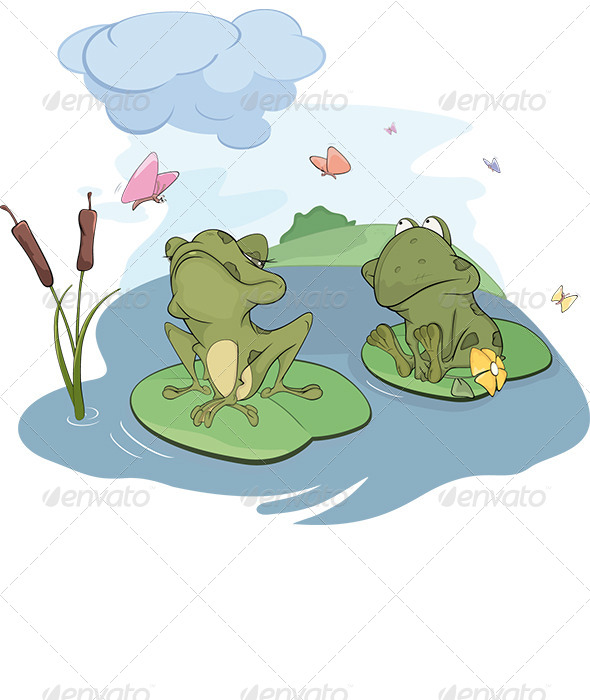 GraphicRiver The Enamored Young Frog Cartoon 6080834