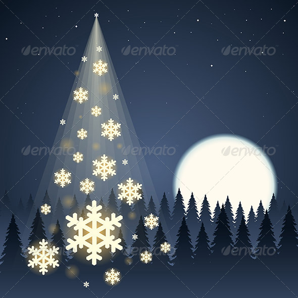 GraphicRiver Moon Snowflake Christmas Tree 6081177