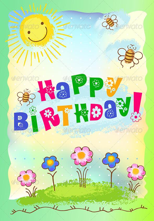 GraphicRiver Happy Birthday Postcard 6081333
