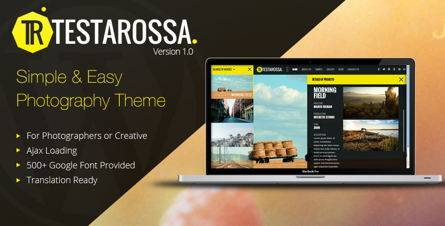 Testarossa - Simple Photography Ajax WP Theme