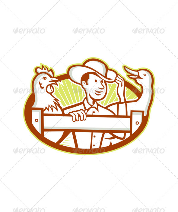GraphicRiver Farmer With Chicken Goose Cartoon 6081742