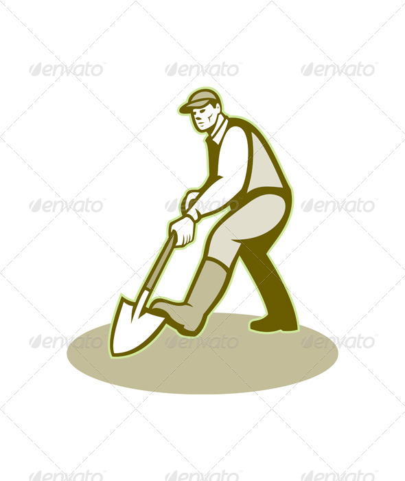 GraphicRiver Gardener Landscaper Digging Shovel Retro 6081763