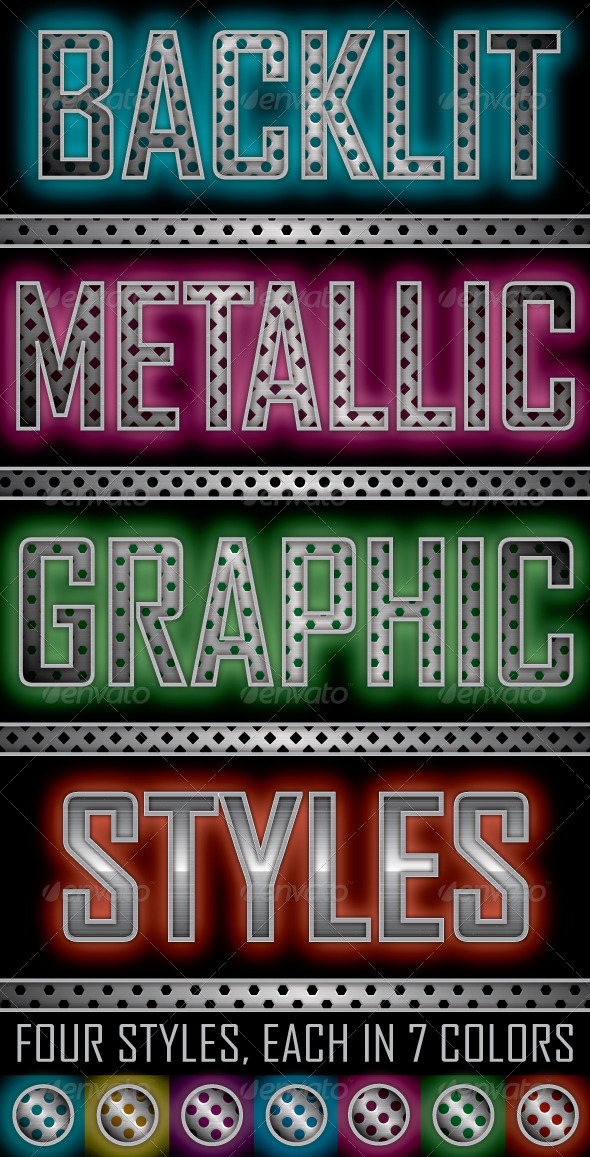 GraphicRiver Backlit Metallic Graphic Styles 6084514