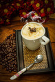 Espresso con panna coffee and Red chrysanthemum flower - PhotoDune Item for Sale