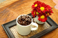 Coffee bean in cup on Bamboo tray. - PhotoDune Item for Sale