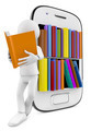 smartphone Bookcase with Multicolor books and man reading - PhotoDune Item for Sale