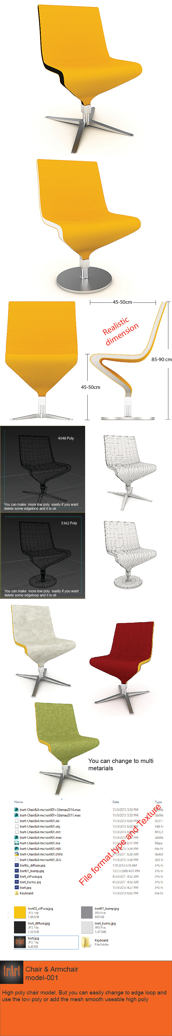 3DOcean Chair Armchair Realistic model 6086934