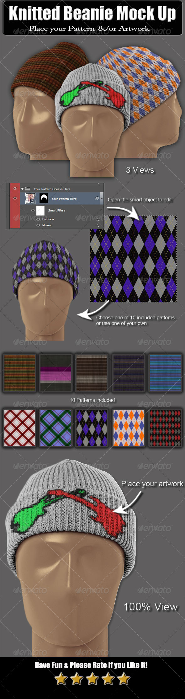 GraphicRiver Knitted Beanie Mock Up 6088965