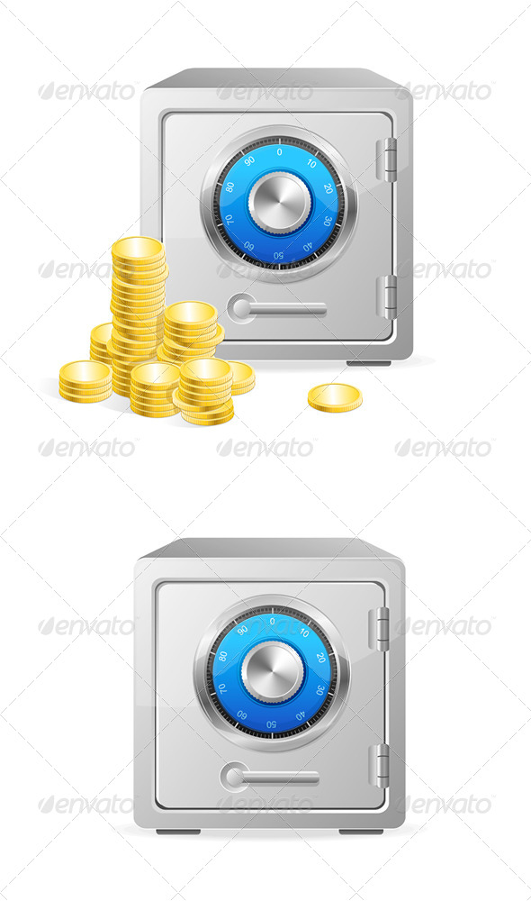 GraphicRiver Vector Metal Safe Icon Security Concept 6091607