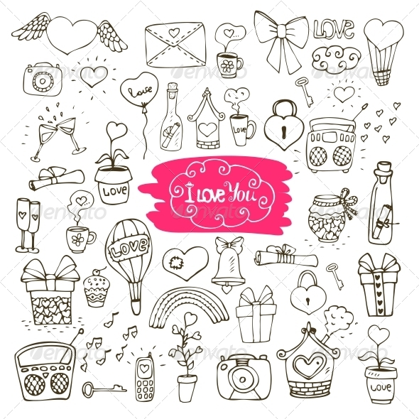 GraphicRiver Love Doodle Icons 6092009