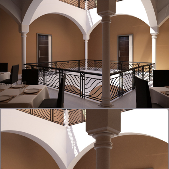 3DOcean Realistic Restaurant Corridor Interior 3D model 636065