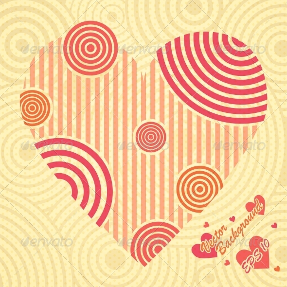 GraphicRiver Vintage Postcard with Heart Ornate of Stripes 6094549