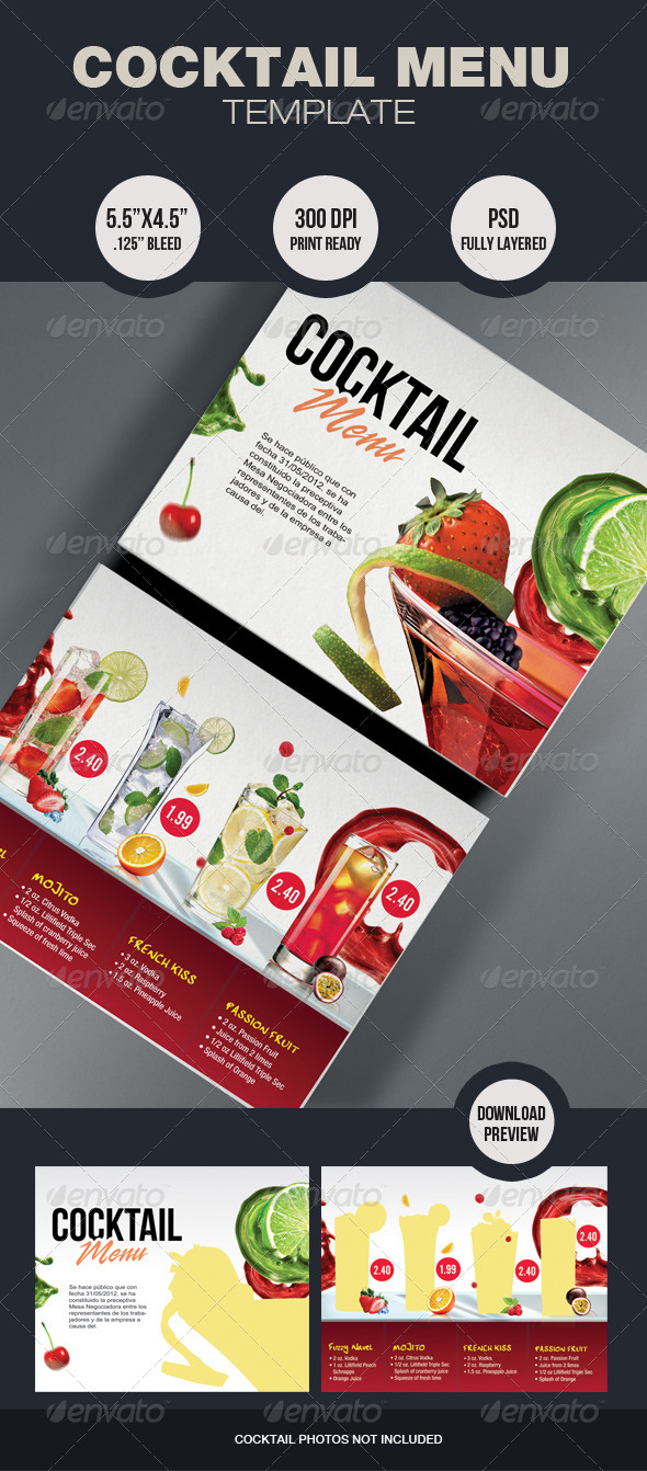 Cocktail Menu Template - Restaurant Flyers