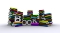 Colorful Piles Of Books With White Text - PhotoDune Item for Sale