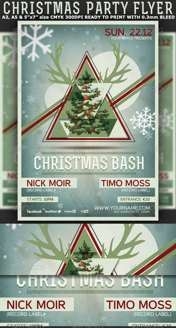GraphicRiver Christmas Minimal Party Flyer-Poster 6098329