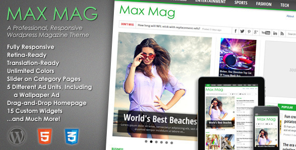Max Mag - Responsive Wordpress Magazine Theme - News / Editorial Blog / Magazine