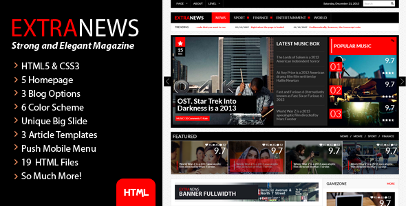 ThemeForest ExtraNews Strong and Elegant Magazine Blog News 6072091