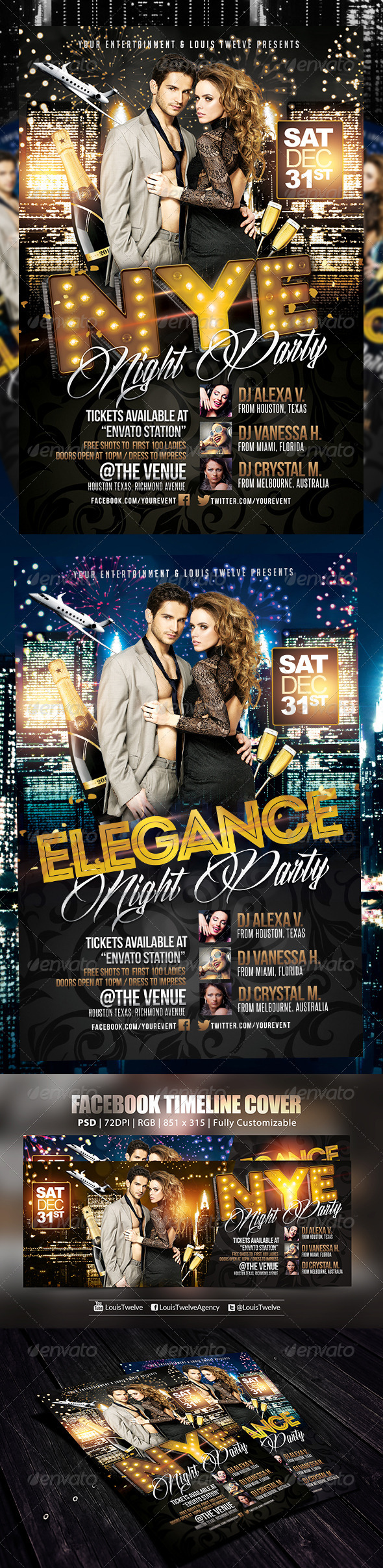 GraphicRiver New Year Eve or Elegance Party Flyer & FB Cover 6078687