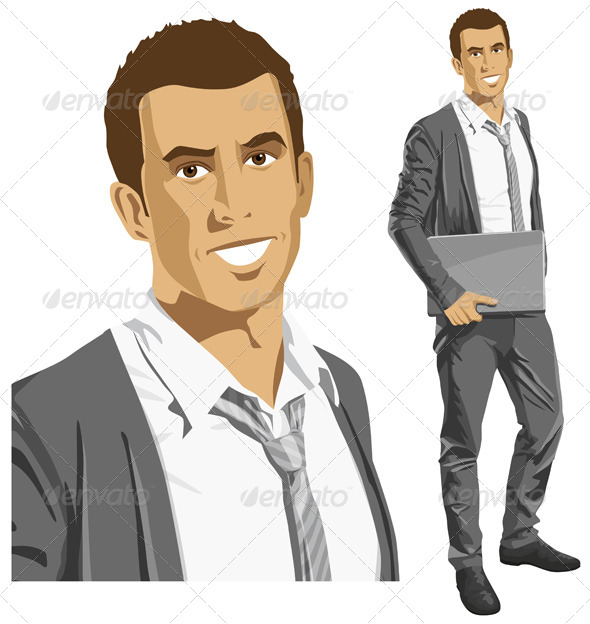 GraphicRiver Vector Businessman with Laptop 6102884