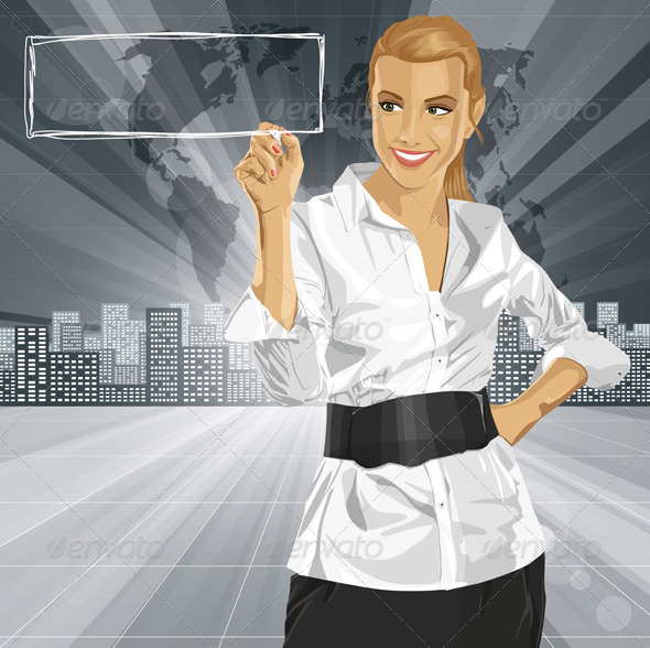 GraphicRiver Vector Business Woman Writing Something 6102898