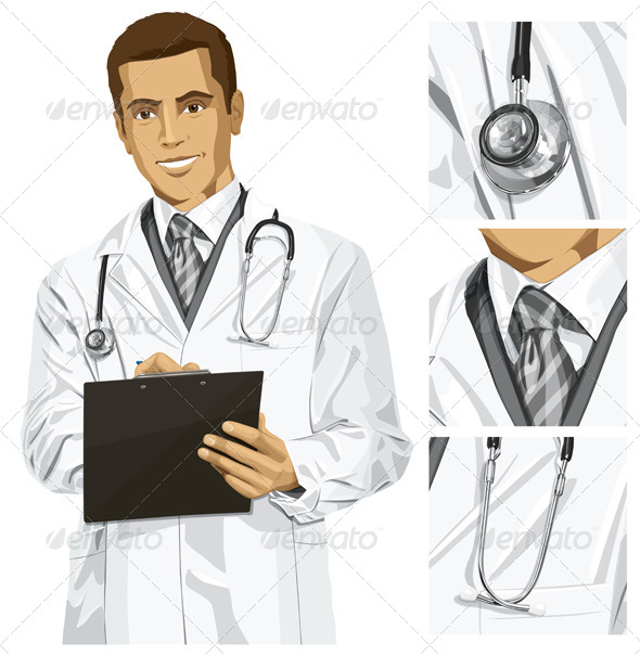 GraphicRiver Vector Doctor Man with Clipboard 6102901
