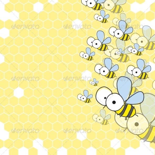 GraphicRiver Bees and Honeycomb Spring Background 6103413
