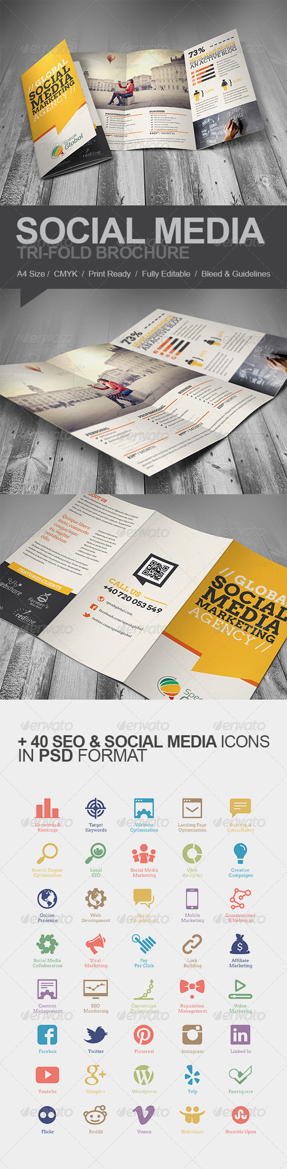 GraphicRiver Social Media Marketing Tri-fold Brochure 6105368
