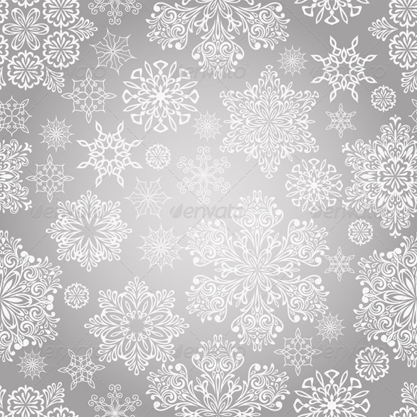 GraphicRiver Vector Seamless Pattern with White Snowflakes 6109232