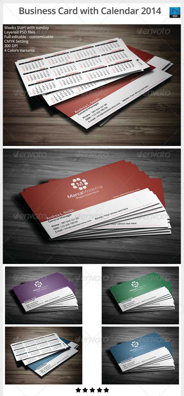 GraphicRiver Business Card With Calendar 2014 6072157