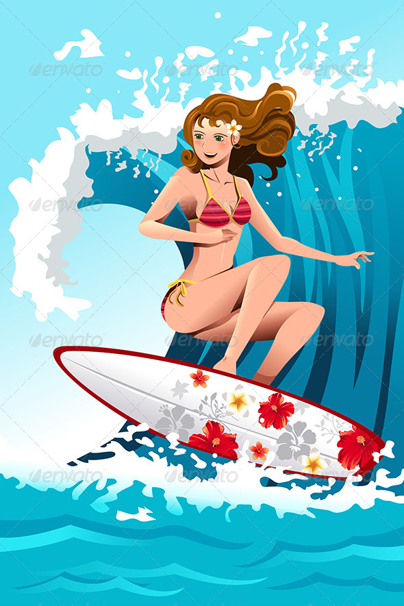 GraphicRiver Surfing Girl 6114269
