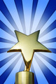 Golden star award on the stand against bright blue background - PhotoDune Item for Sale