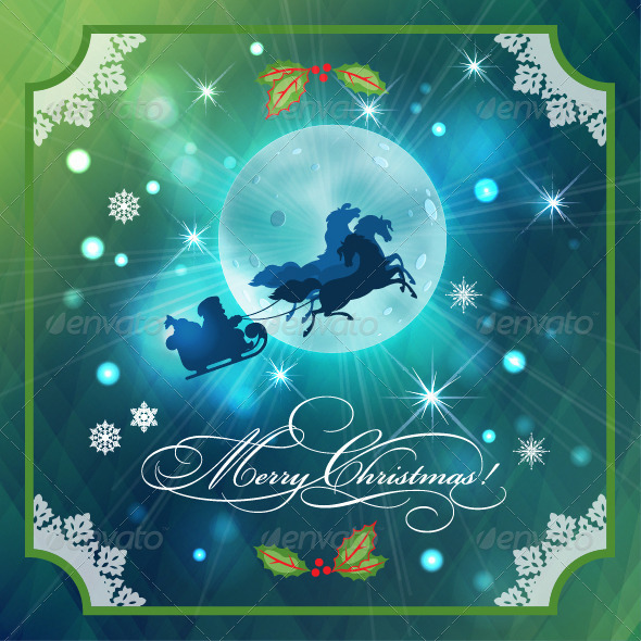 GraphicRiver Santa Riding Sleigh in Christmas Night Background 6115074