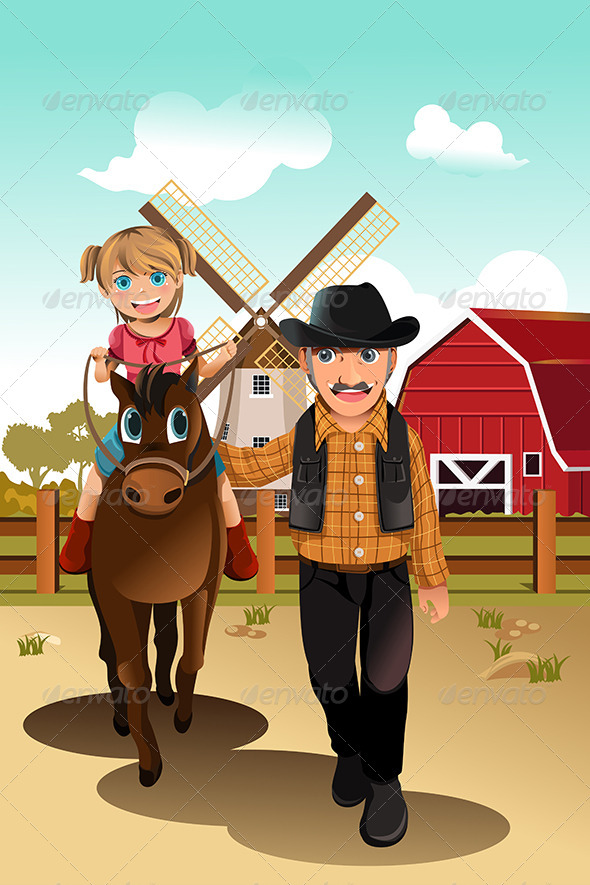 GraphicRiver Girl Riding Horse with Grandfather 6115475