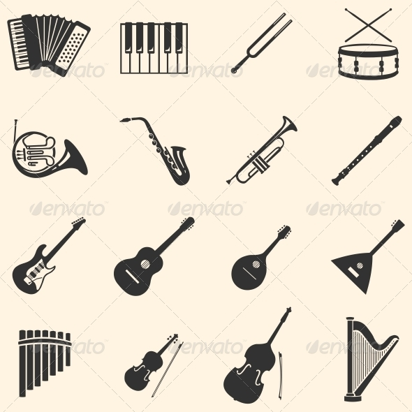 GraphicRiver Vector Set of 16 Musical Instruments Icons 6115935