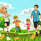 Family Running in Park - GraphicRiver Item for Sale