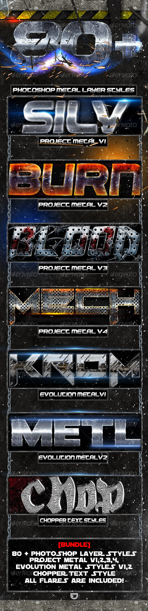 [Bundle] Project Metal - Photoshop Text Styles - Photoshop Add-ons